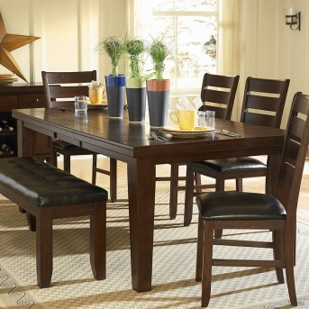 Ameillia Dark Oak 6pc W/60in Bench Dining Room Set Available Online in Dallas Fort Worth Texas