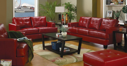 Coaster Samuel Red Sofa & Loveseat Set Available Online in Dallas Fort Worth Texas