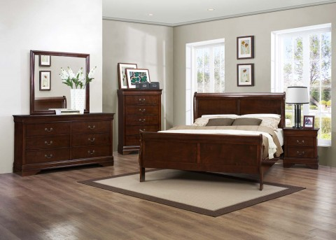 Homelegance Mayville 5pc Brown Cherry Queen Bedroom Group Available Online in Dallas Fort Worth Texas
