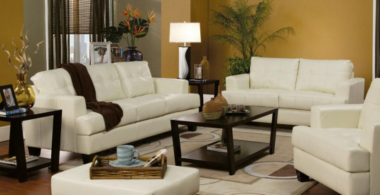 Coaster Samuel Cream Sofa & Loveseat Set Available Online in Dallas Fort Worth Texas
