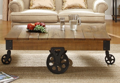 Homelegance Factory Rustic Brown Cocktail Table Available Online in Dallas Fort Worth Texas