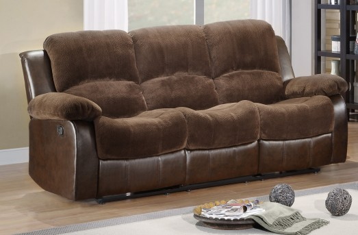 Homelegance Cranley Chocolate 2-Tone Reclining Sofa Available Online in Dallas Fort Worth Texas