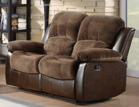 Homelegance Cranley Chocolate 2-Tone Reclining Loveseat Available Online in Dallas Fort Worth Texas