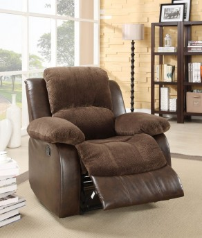 Homelegance Cranley Chocolate 2-Tone Reclining Chair Available Online in Dallas Fort Worth Texas