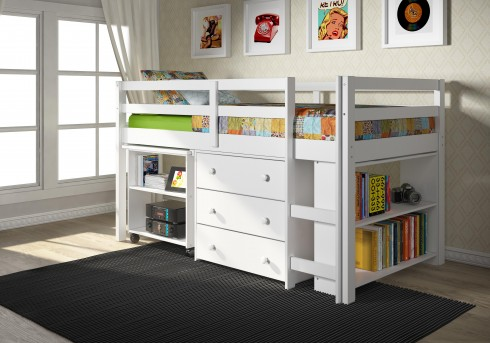 Donco Twin Low Loft White Bed Available Online in Dallas Fort Worth Texas