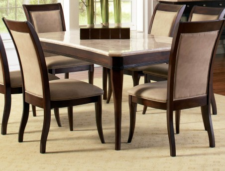 SteveSilver Marseille 7pc Marble Top Dining Set Available Online in Dallas Fort Worth Texas