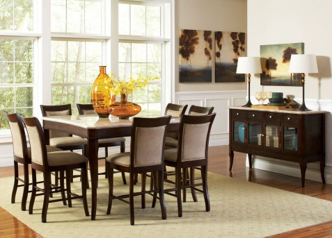 SteveSilver Marseille 9pc Marble Top Counter Height Dining Set Available Online in Dallas Fort Worth Texas