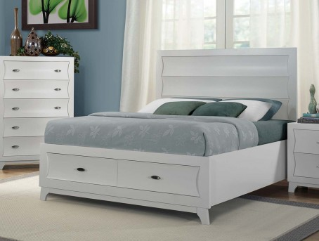 Homelegance Zandra King White Platform/Storage Bed Available Online in Dallas Fort Worth Texas