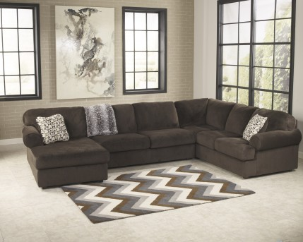Ashley Jessa Place Chocolate Left Arm Facing Corner Chaise Sectional Available Online in Dallas Fort Worth Texas