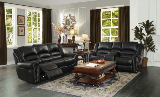 Homelegance Center Hill Black Reclining Sofa & Loveseat Set Available Online in Dallas Fort Worth Texas