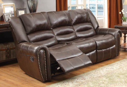 Homelegance Center Hill Dark Brown Reclining Sofa Available Online in Dallas Fort Worth Texas