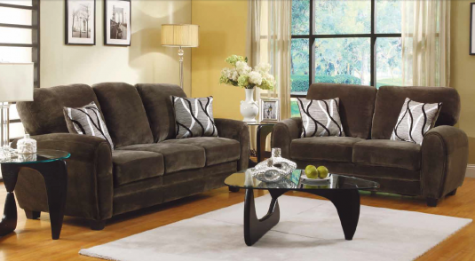 Homelegance Rubin 2pc Chocolate Sofa & Loveseat Set Available Online in Dallas Fort Worth Texas