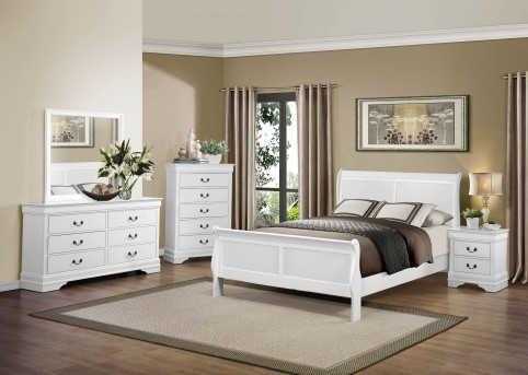Homelegance Mayville 5pc White Queen Sleigh Bedroom Group Available Online in Dallas Fort Worth Texas