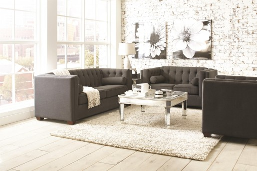 Coaster Cairns Charcoal 2pc Sofa & Loveseat Set Available Online in Dallas Fort Worth Texas
