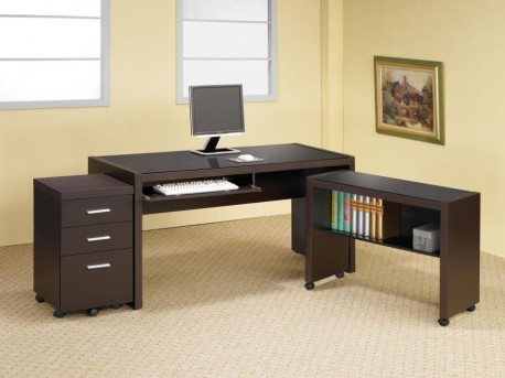 Coaster Skylar Glass Top 3pc Office Suite Available Online in Dallas Fort Worth Texas