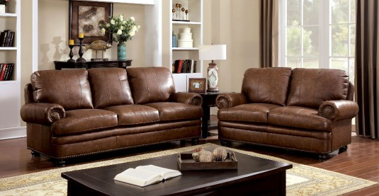 FOA Furniture Of America Rheinhardt 2pc Leather Sofa & Loveseat Set Available Online in Dallas Fort Worth Texas