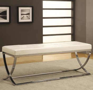 Coaster Fairhaven White Man-Made Leather Bench Available Online in Dallas Fort Worth Texas