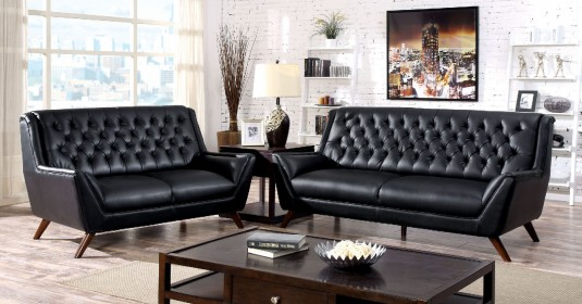 FOA Furniture Of America Leia Black Sofa & Loveseat Set Available Online in Dallas Fort Worth Texas