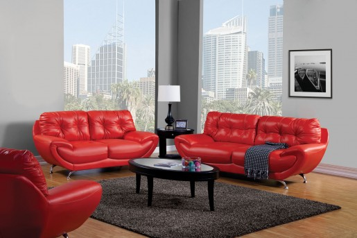 FOA Furniture Of America Volos Red Sofa & Loveseat Set Available Online in Dallas Fort Worth Texas