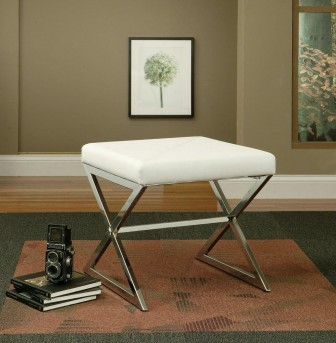 Coaster Jeffery White Ottoman Available Online in Dallas Fort Worth Texas