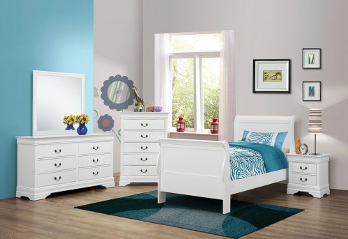 Coaster Louis Philippe White Twin 5pc Bedroom Group Available Online in Dallas Fort Worth Texas