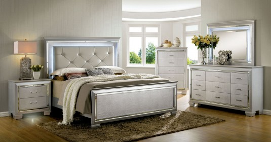 FOA Furniture Of America Bellanova Silver King 5pc Bedroom Group Available Online in Dallas Fort Worth Texas