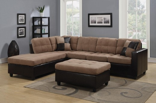 Coaster Mallory Tan 3pc Sectional & Ottoman Available Online in Dallas Fort Worth Texas