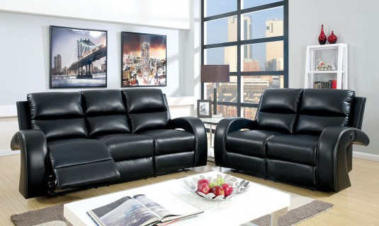 FOA Furniture Of America Odette Black Sofa & Loveseat Set Available Online in Dallas Fort Worth Texas