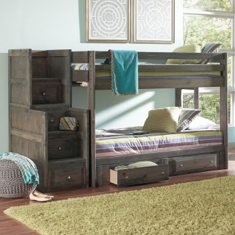 Coaster Wrangle Gun Smoke Twin/Twin Stairway Storage Bunk Bed Available Online in Dallas Fort Worth Texas