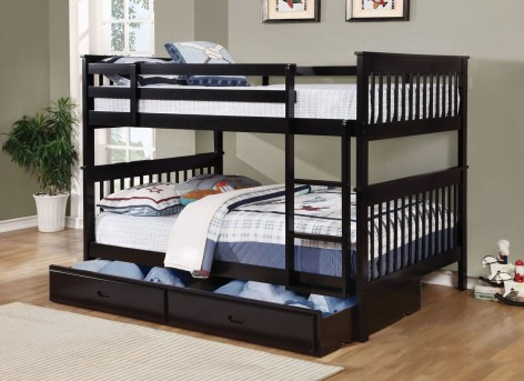 Coaster Chapman Black Full/Full Bunk Bed With Trundle/Storage Available Online in Dallas Fort Worth Texas