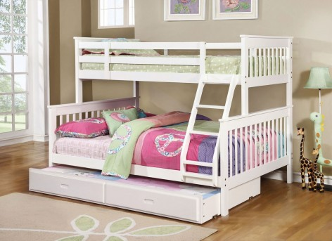 Coaster Chapman White Twin Full Bunk Bed With Trundle Storage Dallas