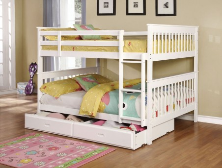 Coaster Chapman White Full/Full Bunk Bed With Trundle/Storage Available Online in Dallas Fort Worth Texas