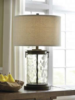 Ashley Tailynn Clear and Bronze Glass Table Lamp Available Online in Dallas Fort Worth Texas