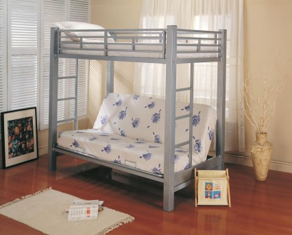 Coaster Silver Twin / Futon Bunk Bed Available Online in Dallas Fort Worth Texas