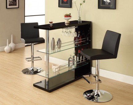 Coaster High Gloss Black Bar Unit Available Online in Dallas Fort Worth Texas