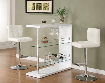 Coaster High Gloss White Bar Unit Available Online in Dallas Fort Worth Texas
