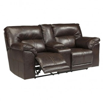 Ashley Barrettsville Durablend Chocolate Double Recliner Loveseat with Console Available Online in Dallas Fort Worth Texas