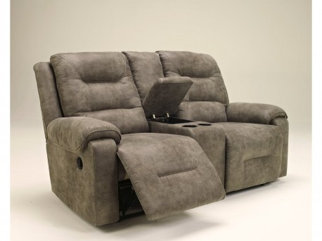 Ashley Rotation Smoke Double Reclining Loveseat With Console Available Online in Dallas Fort Worth Texas
