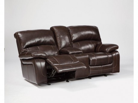 Ashley Damacio Dark Brown Glider Loveseat with Console Available Online in Dallas Fort Worth Texas