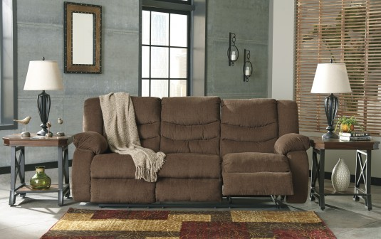Ashley Tulen Chocolate Reclining Sofa Available Online in Dallas Fort Worth Texas