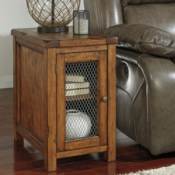 Ashley Tamonie Medium Brown Door Chair Side Table Available Online in Dallas Fort Worth Texas