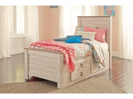 Ashley Willowton Twin Panel Storage Bed with Rail Available Online in Dallas Fort Worth Texas