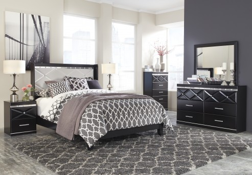 Fancee 5pc Black Queen Panel Bedroom Group Available Online in Dallas Fort Worth Texas