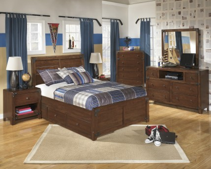 Ashley Delburne 5pc Full Panel With Storage Bedroom Group Available Online in Dallas Fort Worth Texas