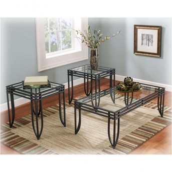 Ashley Exeter Black/Brown Coffee Table Set Available Online in Dallas Fort Worth Texas