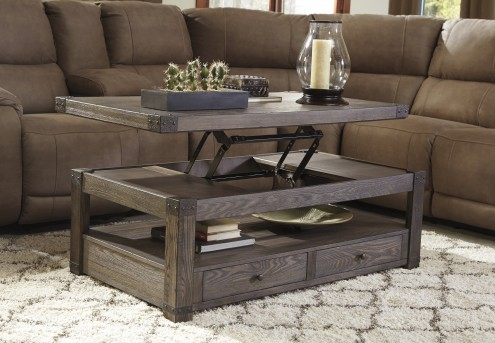 Ashley Burladen Grayish Brown Coffee Table Available Online in Dallas Fort Worth Texas
