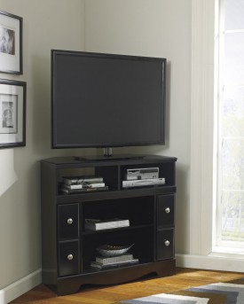 Ashley Shay Black Corner TV Stand Available Online in Dallas Fort Worth Texas