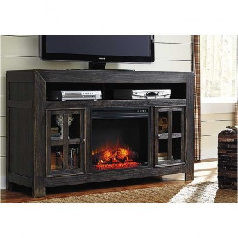 Ashley Gavelston Black Large TV Stand With Fireplace Available Online in Dallas Fort Worth Texas