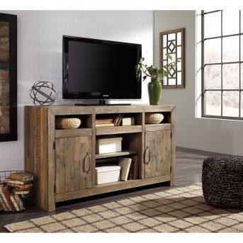 Ashley Sommerford Brown TV Console with Fireplace Available Online in Dallas Fort Worth Texas