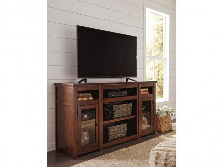 Ashley Harpan Reddish Brown Extra Large TV Stand Available Online in Dallas Fort Worth Texas